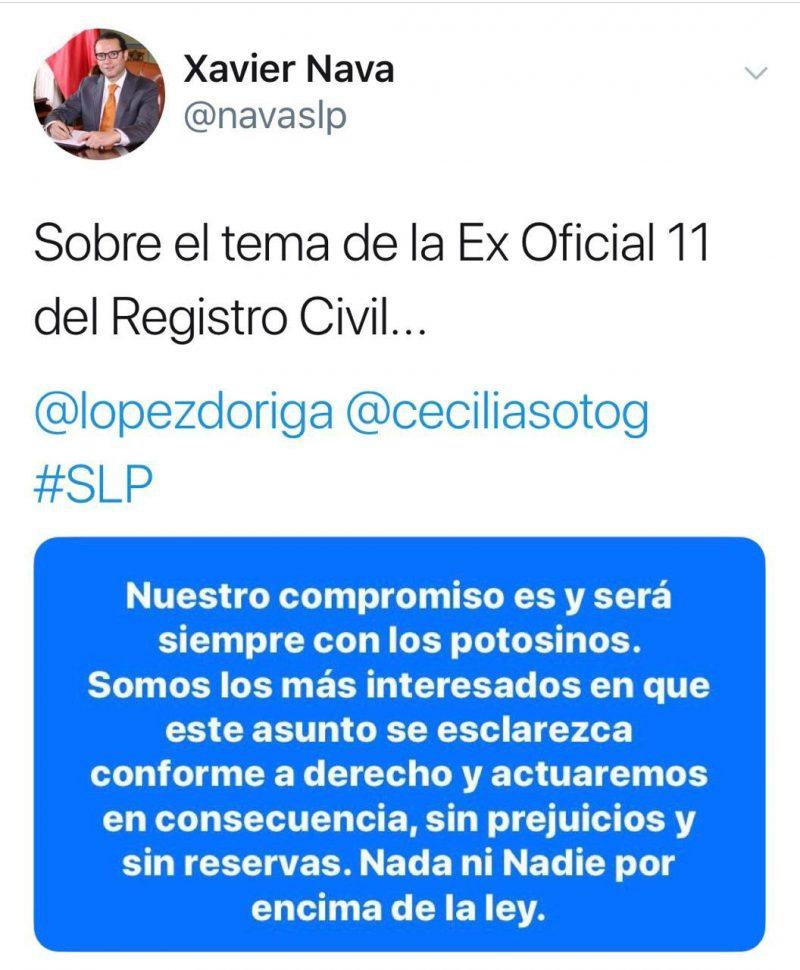 tweet xavier nava recula sobre caso de oficial del registro civil