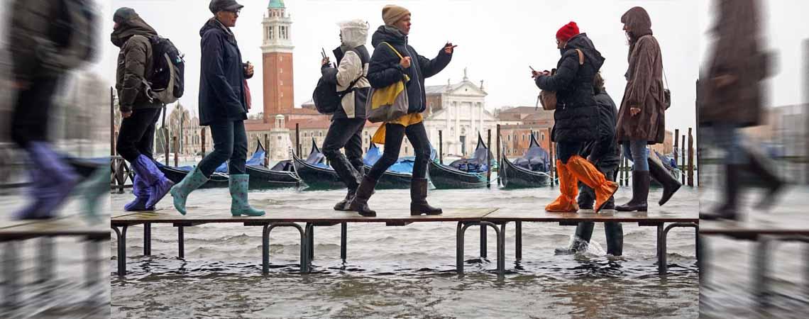 Venecia bajo el agua; los estragos que ha dejado la marea alta