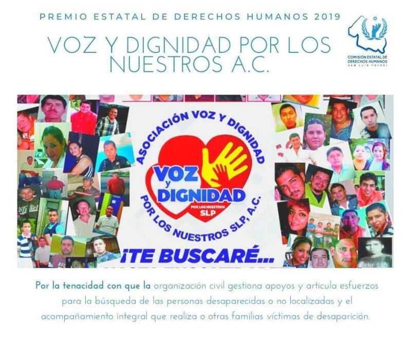 Voz y dignidad por los nuestros ac premio estatal de derechos humanos