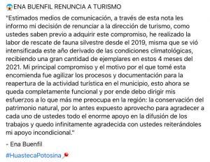 Ena Buenfil Zamudio renuncia como Directora de Turismo Valles